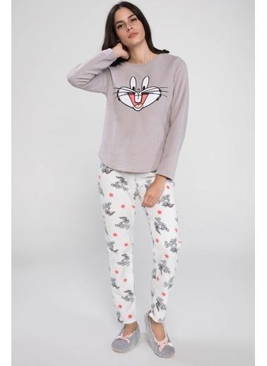 DeFacto Bugs Bunny Baskılı Lisanslı Pijama Takımı Ekru